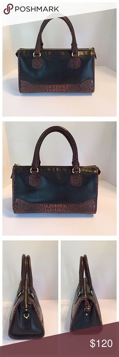 """Brahmin Black & Brown Croc Embossed Bag Soft, smooth black leather and brown croc embossed leather combine to create this beautiful, classy hand bag. Top zip closure. In excellent condition but no sleeper, hang tag, or shoulder strap. Measurements: 12""""Lx7.5""""Hx6.5""""D. Drop is 5"""". Brahmin Bags Satchels"""