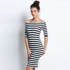 FANALA Women Bodycon Dress Sexy Summer Dress 2017 Off Shoulder Striped Office Cotton Wrap Dresses MG2200