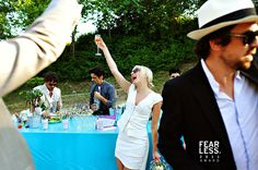 Happy bride toasting on her wedding in Provence, France www.samorovan.com