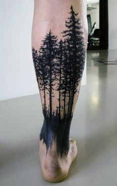 Mountain Sleeve Tattoo, Tree Sleeve Tattoo, Sleeve Tattoos, Deer Skull Tattoos, Leg Tattoos, Body Art Tattoos, Tattos, Unique Tattoos, Beautiful Tattoos