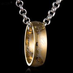 Hobbit collar de la letra para los hombres negro oro plata acero inoxidable collar colgante de 3 colores de la forma redonda colgante de acero titanium 6mm