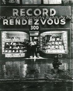 U.S. record shop, 1950s.