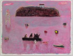 """Katherine Bradford, """"Low Tide at Mere Point"""", 2015, acrylic on canvas"""