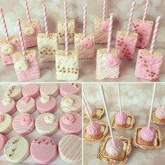 Love this pink, white, and gold set of treats for Brielle's Baptism Note the rose candy mold used. Chocolate covered oreos n cake pops are super easy DIY /homemade by Mummy kids birthday party sweet treats Paris and Floral Themed Chocolate Covered Rice Kr Baby Shower Treats, Baby Shower Desserts, Baby Shower Parties, Baby Shower Candy Table, Shower Baby, Baby Shower Cakepops, Baby Shower Cake For Girls, Pink Candy Table, Purple Candy