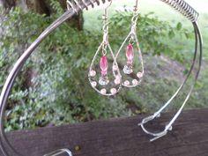 Pink dangle teardrop earrings