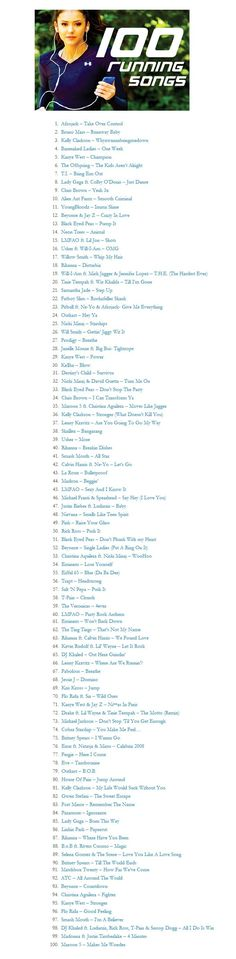 100 Running Songs or just songs to just workout to :-)