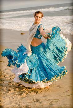 Beautiful custom designed clothing for women and children Flowery Dresses, Gypsy Dresses, Bohemian Costume, Sharara Designs, Saree Wearing, Tribal Skirts, Bollywood Lehenga, Indian Skirt, Girls Frock Design