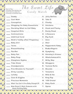 Baby Shower Sweet Life Candy Bar Match Game - Printable Baby Shower Games - Pink Gray Chevron Baby G Baby Shower Candy, Fun Baby Shower Games, Baby Shower Activities, Baby Games, Baby Shower Printables, Baby Shower Themes, Baby Boy Shower, Shower Ideas, Baby Sprinkle