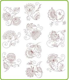 crewel patterns | Jacobean redwork patterns