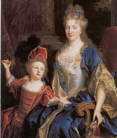 Portrait of Catherine Coustard with her daughter Léonor. ca. 1699