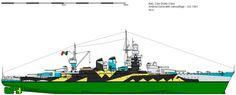 RMN Andrea Doria - Corazzata classe Duilio Ricostruzione avviata l'8 aprile 1937 Entrata in servizio 26 ottobre 1940 Radiata 1º novembre 1956 Caratteristiche generali Dislocamento normale: 28.700 t a pieno carico: 29.000 t Lunghezza 186,9 m Larghezza 28 m Pescaggio 10,4 m Propulsione vapore: 8 caldaie Yarrow 2 Turbine Belluzzo 2 eliche Potenza: 85.000 CV Velocità 27 nodi (50 km/h) Autonomia 3390 miglia a 20 nodi (6278 km a 37 km/h) Equipaggio 1.495 uomini