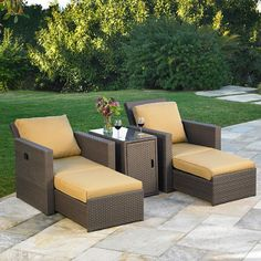Madrid Recliner Set By Mission Hills 2 Recliner Chairs And Storage Side  Table Converts From Club Chair To Lounger All Weather Woven Resin Wicker  With ...
