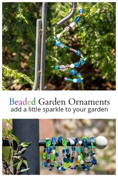 These beaded garden ornaments are fast, easy and inexpensive to create. They also make great yard art gifts, and may help attract birds and butterflies to your garden. #gardenideas #gardencrafts #yardart #bead #crafting #crafts #outdoor