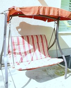 ~ Outdoor-swing-project...recovering using outdoor tablecloth or shower curtains