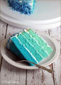 블루 옴브레 케이크