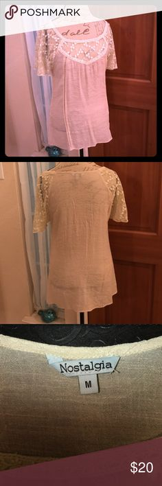 Nostalgia Sheer Beige Top with Lace Detail Size M Women's Cream or off-white Sheer top- like new only worn once- size M Nostalgia Tops Blouses