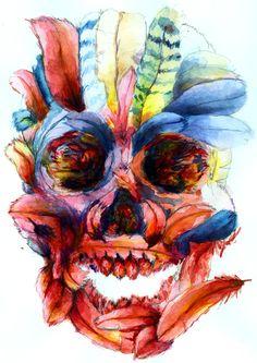 skull watercolour