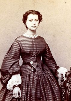 Small Waist Civil War Era Dazzler Dress Fashion Beautiful Woman | eBay- amazing pattern matching. Look at how dainty the pleats are and how perfect that stripe lines up! Love the short hair on her as well. Gorgeous sleeves, amazing undersleeves! She is just gorgeous!