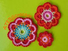 Crochet pattern triple flower power by by ATERGcrochet on Etsy, €2.75
