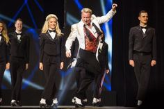 Michael Flatley (center) takes the stage during Lord of the Dance: Dangerous Games on the Great White Way!