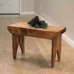 """Tall Country Stool - Wood stained stool, farmhouse bench, 24"""" x 16"""" x 11"""" primitive bench"""