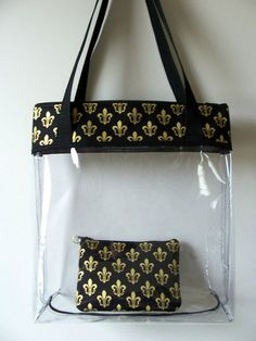 Items Similar To Fleur De Lis Gold Metallic New Orleans Saints Clear Transparent Nfl Stadium Regulation Tote Monogram Bag Purse Carry All