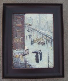 """Alice Y. Hirsh. (1888-1935). 6th Avenue Elevated Train Station in New York City"""", circa 1914. Oil on canvas laid onto board. Hirsh was active in the NY area in the early 20th century. The train station at 6th Ave. was elevated until the 1930s. Written on the back is """"No. 58"""" and """"1914 6th Ave. El""""' She exhibited at the National Association of Women Painters and Sculptors, Morton Galleries, 1936 and Montross Gallery , 1937, both of whom are located in New York."""