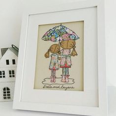 Handmade 'Singing in the Rain' embroidered picture by