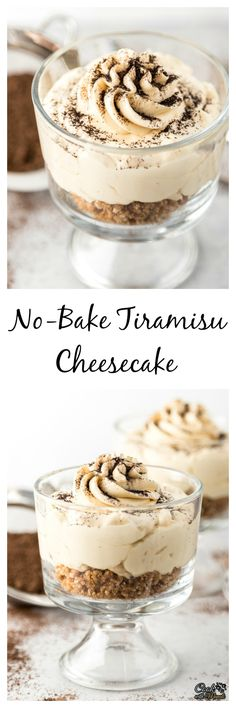 Individual No Bake Tiramisu Cheesecake is an easy way to satisfy your Tiramisu craving!Individual No Bake Tiramisu Cheesecake is an easy way to satisfy your Tiramisu craving! Mini Desserts, Individual Desserts, Sweet Desserts, No Bake Desserts, Easy Desserts, Sweet Recipes, Delicious Desserts, Dessert Recipes, Yummy Food