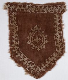Tab from a Mamluk banner with linked crosses and pear-shaped medallion Egypt, late century - early century Medieval Embroidery, Herringbone Stitch, Textiles, Silk Painting, Chain Stitch, Pear Shaped, Textures Patterns, Asian Art, Online Art