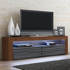 Milano Classic Modern 16 color 63-inch TV Stand | Overstock.com Shopping - The Best Deals on Entertainment Centers - Gray/Wavy Black Coastal Furniture, Living Room Furniture, Modern Furniture, Living Room Storage, Storage Spaces, Modern Contemporary, Modern Tv, 70 Inch Tvs, Black Tv Stand