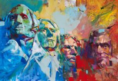 Mount Rushmore, inch, acrylic on canvas. Art And Illustration, Andy Warhol, Voka Art, Mona Lisa, Outdoor Wall Art, Colorful Paintings, Portrait Art, Art And Architecture, Les Oeuvres