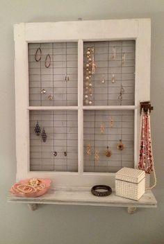 Vintage Window Frame and Shelf Wall Decor by AsIsRepurposedItems