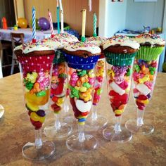 Birthday cake and lollie cups, perfect for individual serves and easy to pre assemble. Lots of fun for the kids and colourful presentation! by sheryl