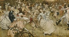 """books0977: """" The Dance in Cupid's Alley (1904). Arthur Rackham (English, 1867-1939). Pen and ink and watercolour on paper. Tate. An illustration to a poem by Austin Dobson, which is inscribed on the..."""