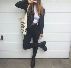 top cute outfit fall outfits fall outfits urban boho grunge tumblr white weheartit black jeans denim jacket biker boots heels mid heel boots shoes