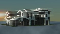 Traditional modern house made in minecraft.