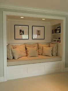65 Wonderfully cozy reading nooks for book lovers is part of Living Room DIY Reading Nooks - Designing a reading nook in your home can be the perfect way to transform an awkward or unused space into a cozy reading nook to curl up in Home, Small Spaces, Interior, New Homes, House, House Interior, Basement Design, Reading Nook Closet, Remodel Bedroom