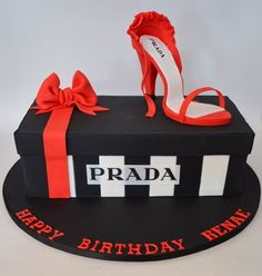 Shoe Box Cake with Prada Label