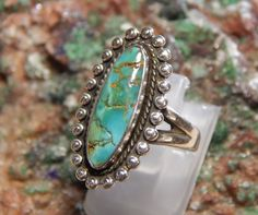 Native American Sterling Turquoise Ring by fatcatantique on Etsy