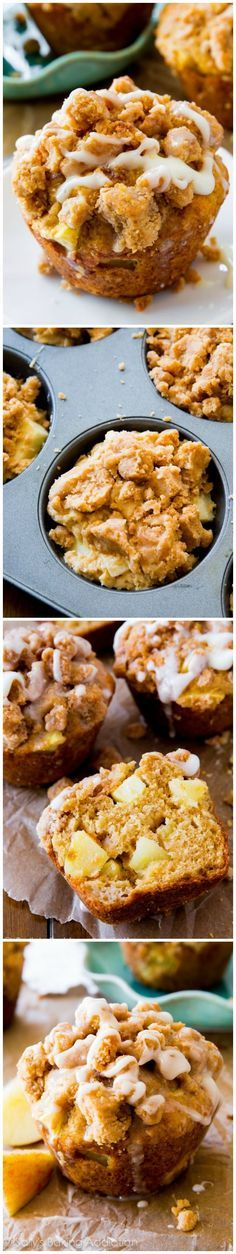 The BEST Apple Muffins - big, bakery style apple muffins heavy on the brown sugar crumb topping and vanilla glaze. @sallybakeblog