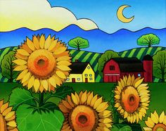 """""""Fleur du Soleil"""" an acrylic painting by Stacey Neumiller"""