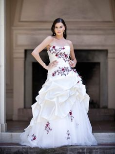Net over satin strapless A-line net bridal gown