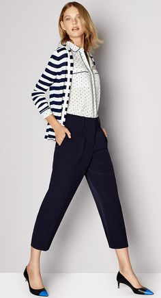 Mix bold stripes and a subtle dot, keep the look polished with Crepe Cropped Pants