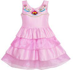 Girls Dress Embroidered Flower Tiered Cake Party Birthday Sundress Size 4-10 #SunnyFashion #Everyday
