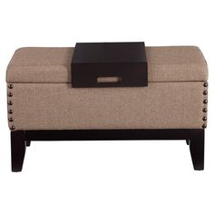 Wood-framed storage bench with neutral linen upholstery and oversized nailhead accents.  Product: Storage bench and tray