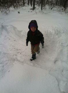 "Karen Hosaflook of Bridgewater, Virginia says ""big snow pictures of Caleb & snowy pond in Stuart Draft."" #WHSVsnow"