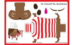 FREE printable Cute Dachshund Paper Toy Template  // Samantha Eynon - Paper Toy Downloads