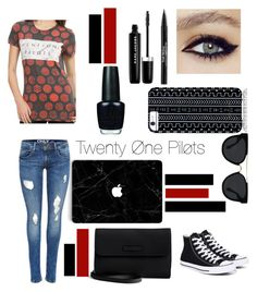"""""""I'm With the Band"""" by courtneyt13 ❤ liked on Polyvore featuring Converse, Savannah Hayes, Quay, Trish McEvoy, Marc Jacobs, OPI, Vera Bradley, bandtshirt and bandtee"""