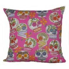 Sugar Skulls Pink Cushion